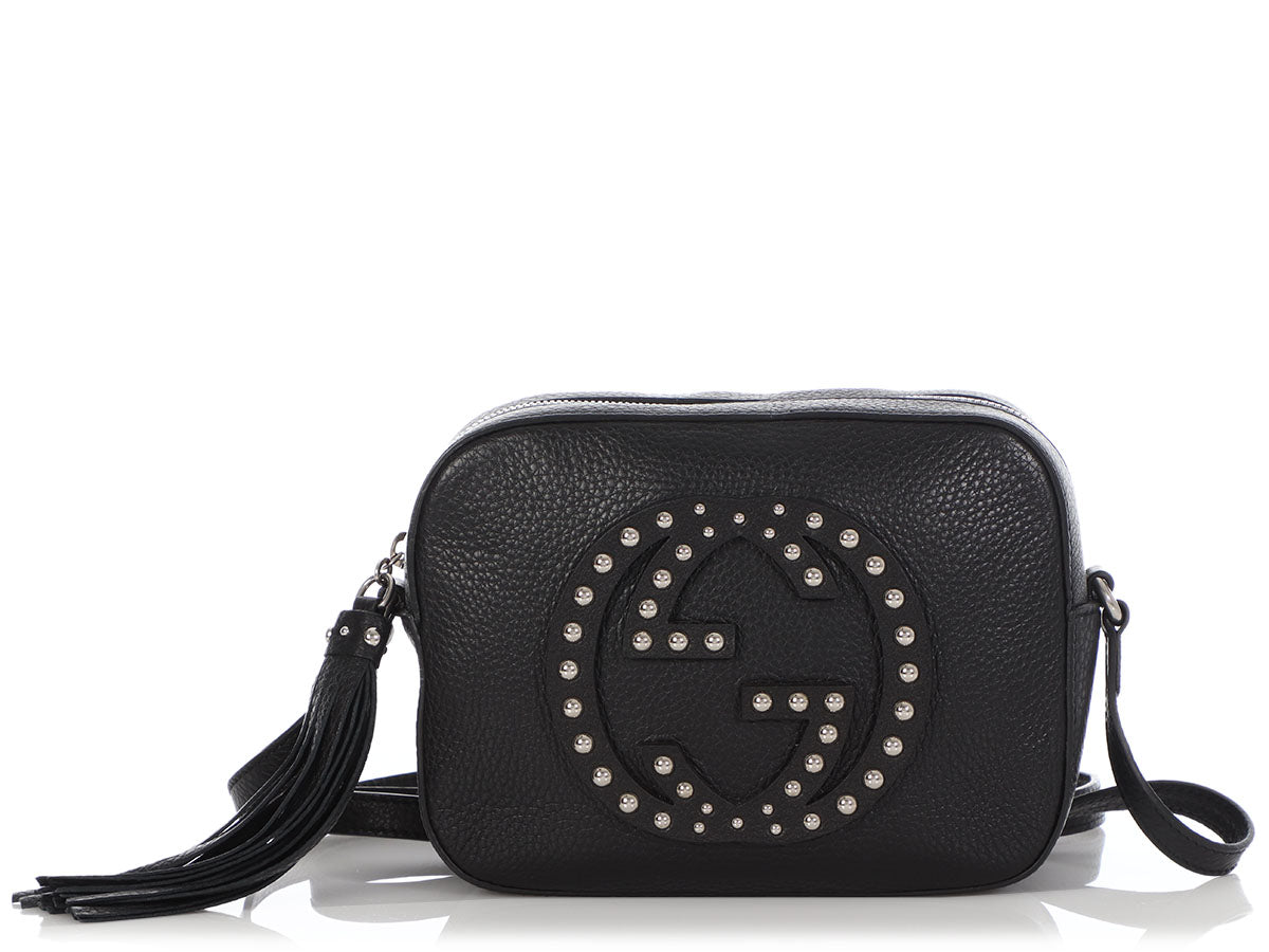 Gucci Black Pebbled Calfskin Studded Soho Disco