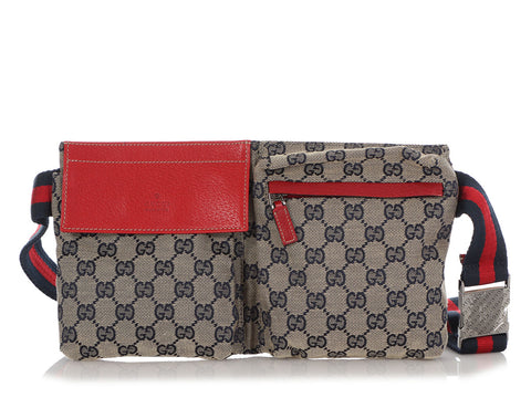 Gucci Blue Monogram Canvas GG Waist Bag