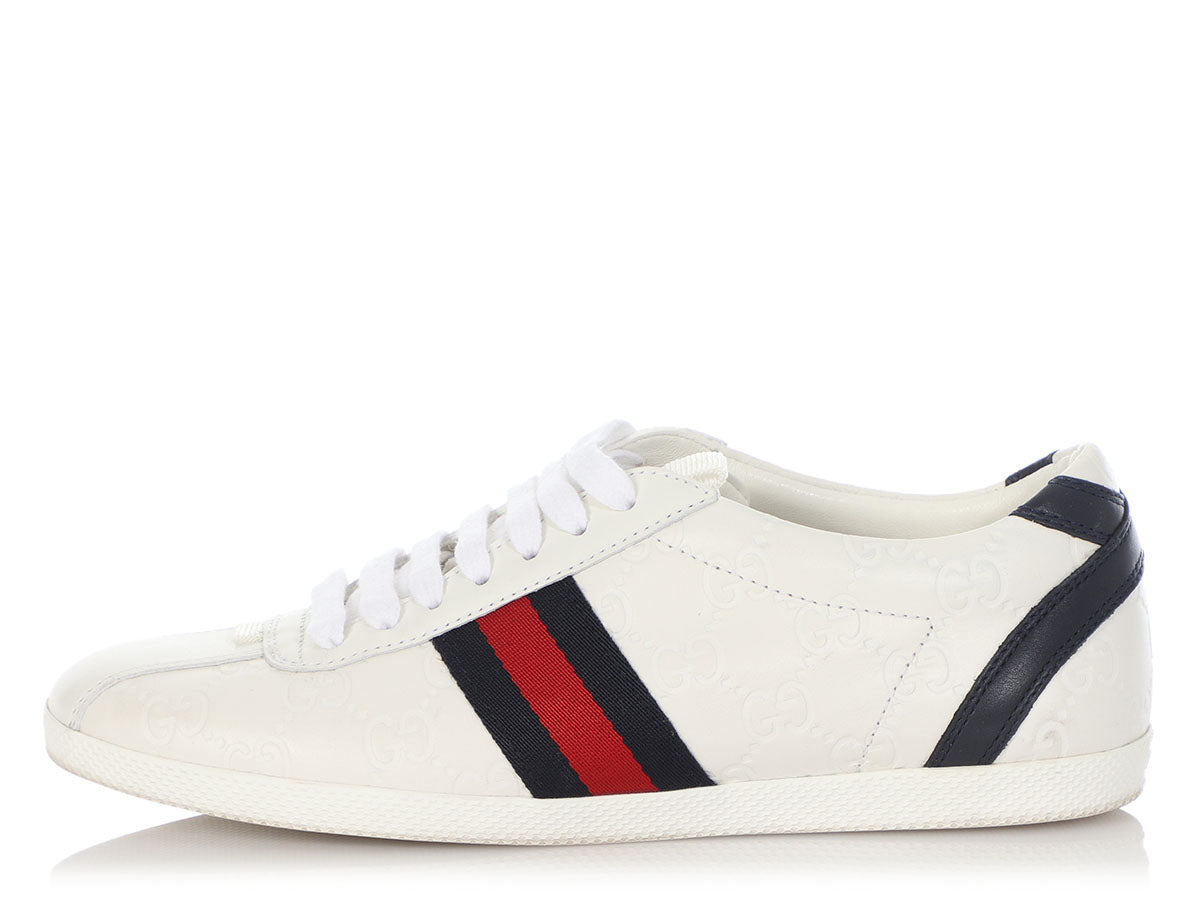 Gucci White Logo-Embossed Leather Sneakers