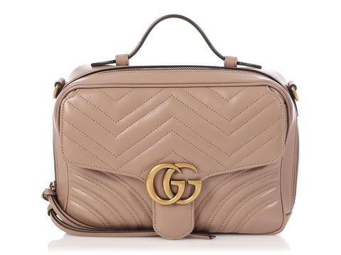 Gucci Small Dusty Pink Matelassé GG Marmont Shoulder Bag