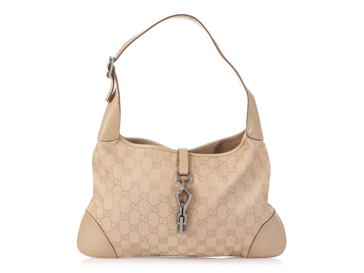 Gucci Beige GG Canvas Jackie Shoulder Bag
