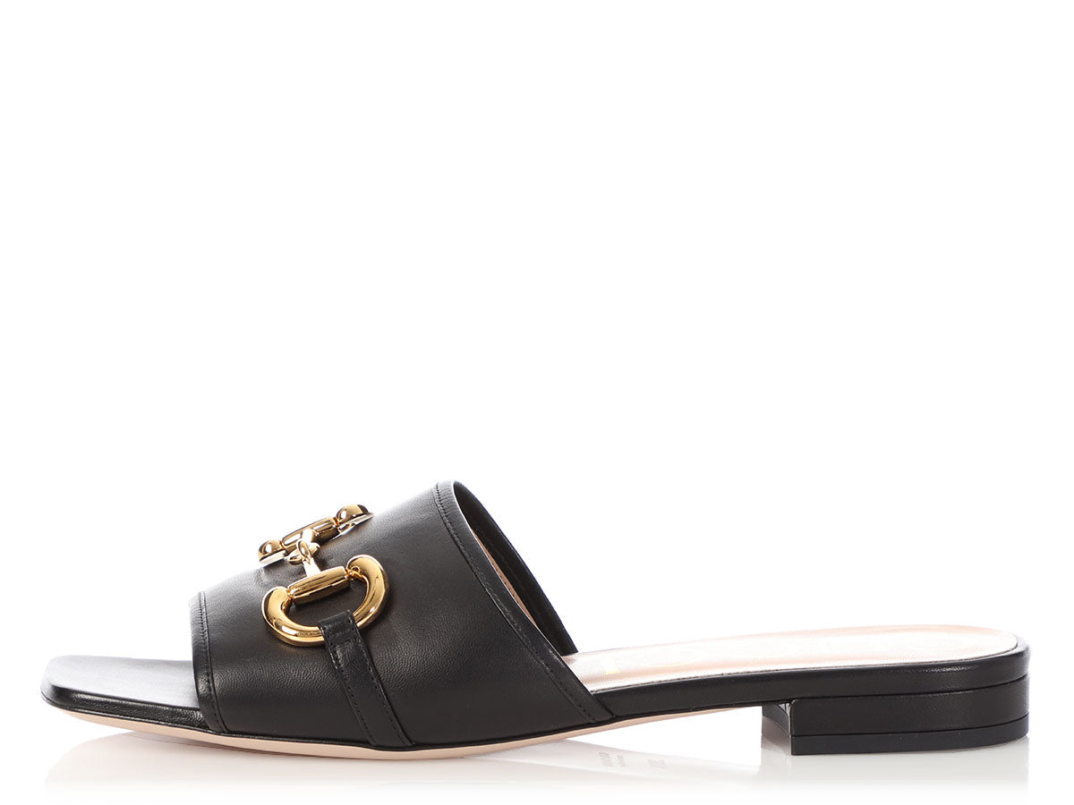 Gucci Black Horsebit Slide Sandals