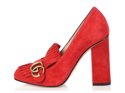 Gucci Red Suede Marmont Fringed Loafer Pumps
