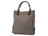 Gucci Black GG Canvas Bamboo Tote