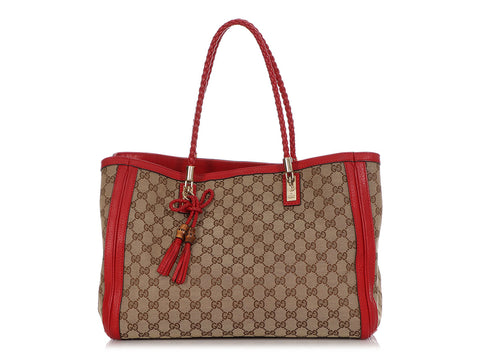 Gucci Red Bamboo GG Canvas Bella Tote