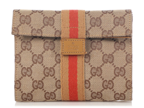 Gucci GG Monogram Web Fold Over Clutch