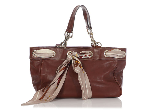 Gucci Medium Brown Leather Positano Scarf Tote