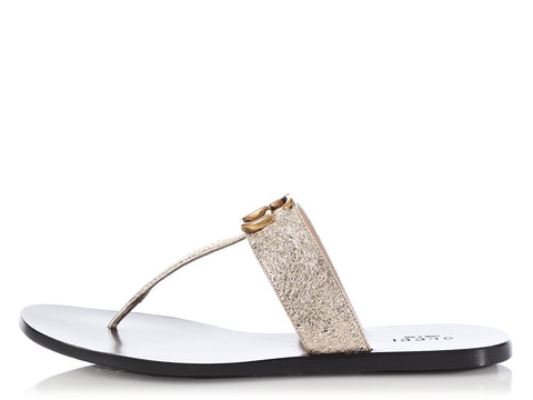 Gucci Gold Thong Sandals