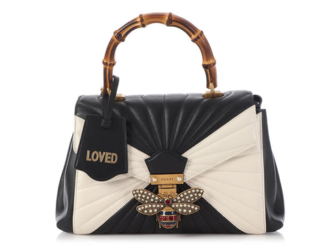 Gucci Black and White Queen Margaret Top Handle Bag