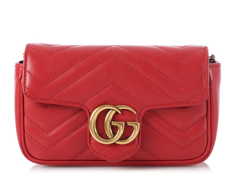 Gucci Super Mini Red GG Matelassé Marmont Bag