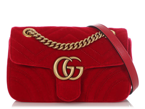 Gucci Mini Red Matelassé Velvet GG Marmont Bag