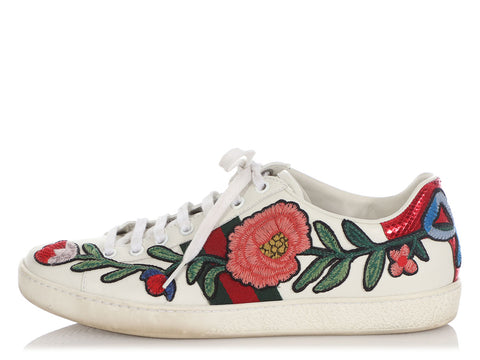 Gucci Embroidered Flower Ace Sneakers