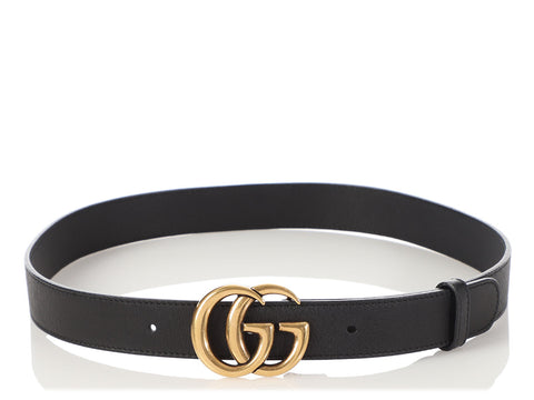 Gucci Black Leather GG Belt