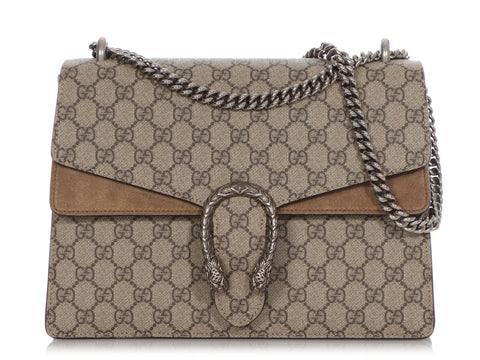 Gucci Medium Taupe GG Supreme Dionysus Shoulder Bag