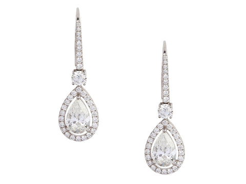Graff 18K White Gold Diamond Pierced Drop Earrings