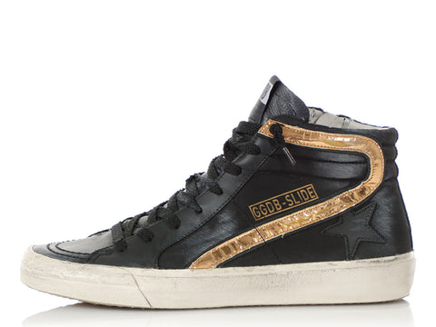 Golden Goose Black Distressed Slide High-Top Sneakers
