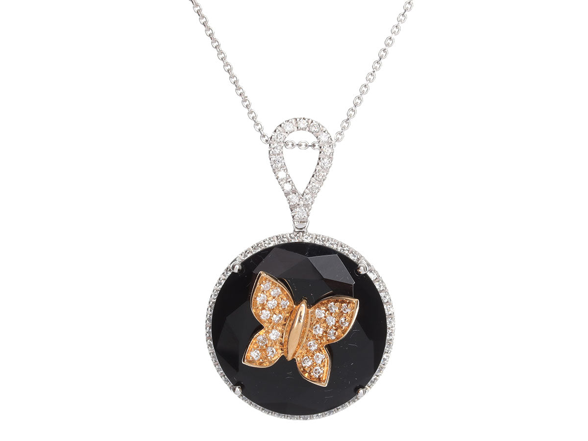 Giorgio Visconti 18K White Gold Onyx and Diamond Butterfly Pendant Necklace