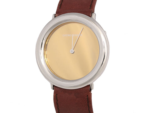 Georg Jensen Stainless and Brown Leather Watch 34mm