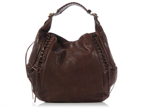 Givenchy Medium Brown Eclipse Lex Lace Up Hobo