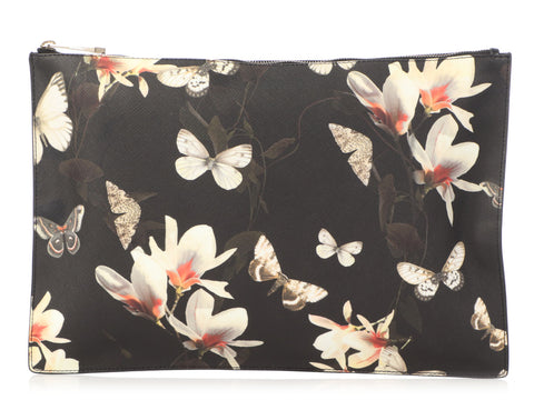 Givenchy Black Canvas Magnolia Butterfly Clutch