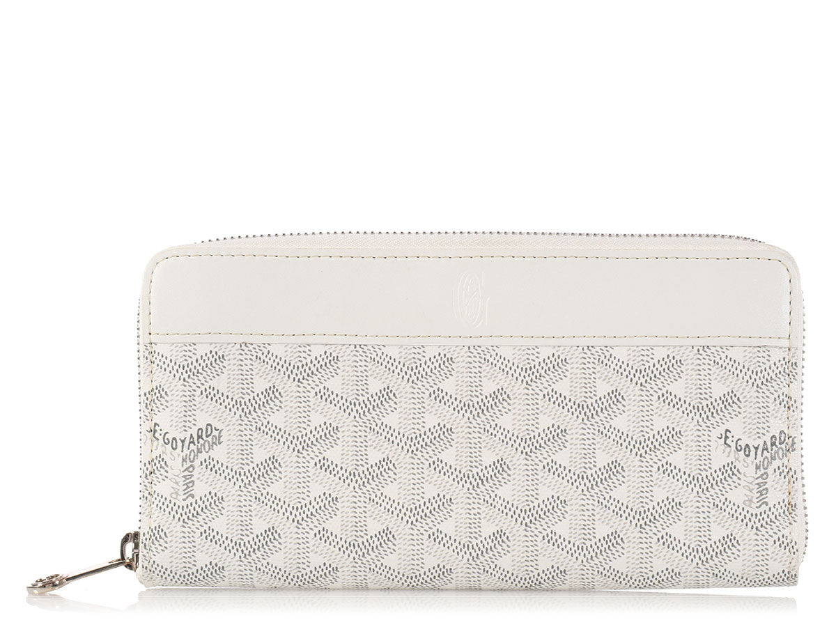 Goyard White Matignon Zip Around Wallet