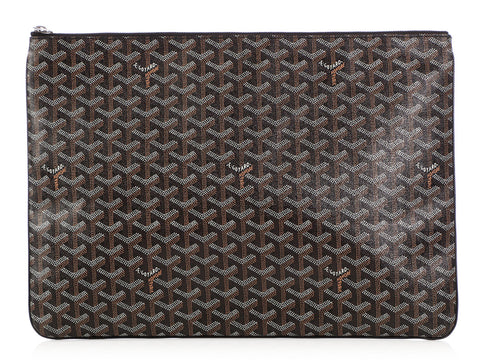 Goyard Black Canvas and Leather Senat GM