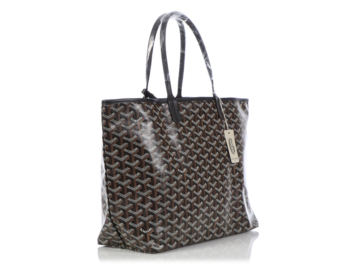 decc419b6238a2 Goyard Goyardine Chevron St Louis with Pouch 867951 Black Coated Canvas Tote  For Sale at 1stdibs