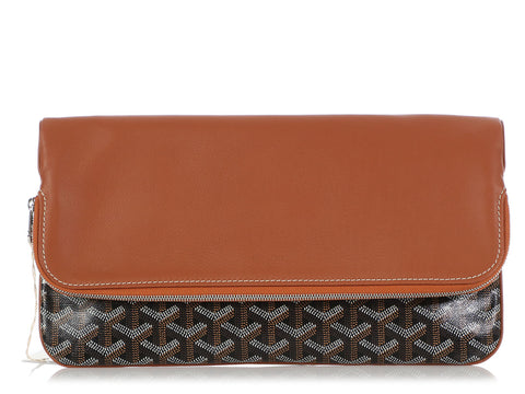 Goyard Black Monogram Canvas and Brown Leather Sainte Marie Clutch
