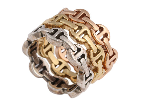 Hoorsenbuhs 18K Gold and Sterling Silver Dame Trio of Link Rings