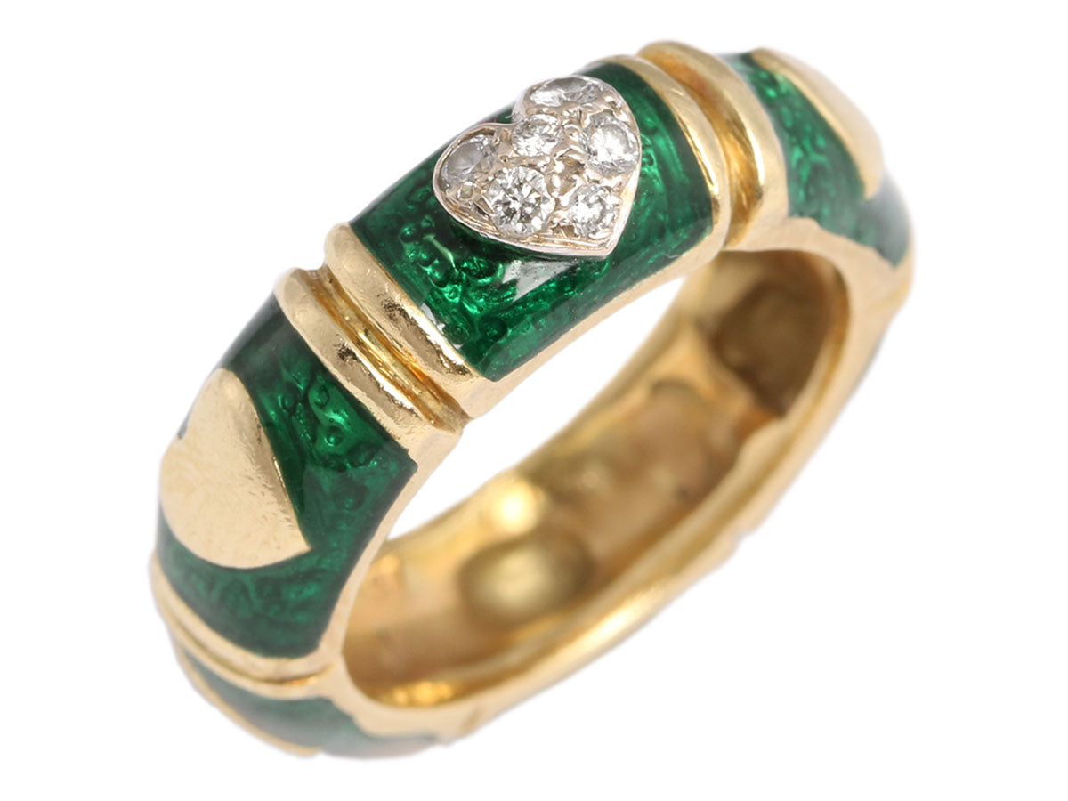 Hidalgo 18K Diamond and Enamel Heart Band