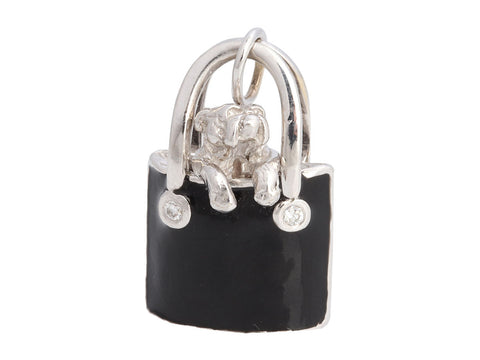 Hidalgo 18K White Gold and Diamond Bulldog in a Handbag Charm