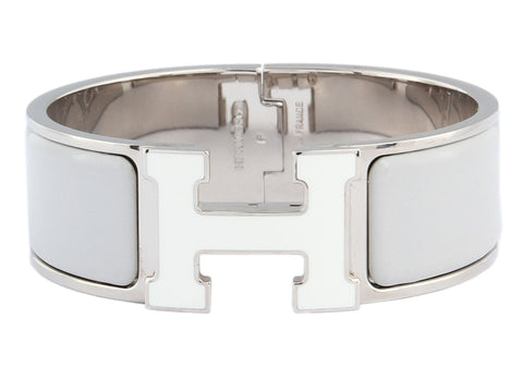 Hermès Wide Gray and White Clic H