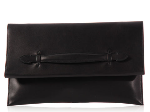 Hermès Black Pliplat Envelope Clutch