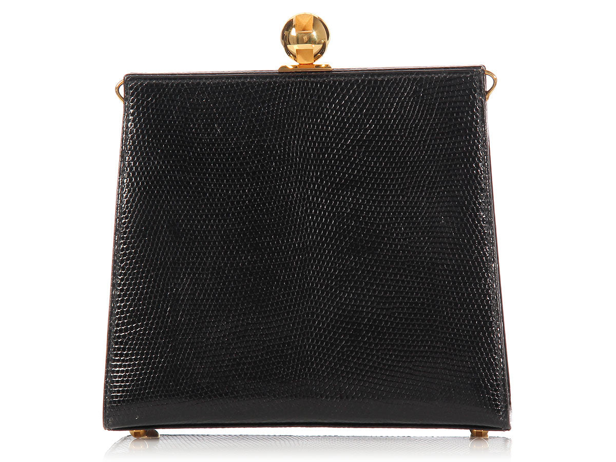 Hermès Black Lizard Evening Bag
