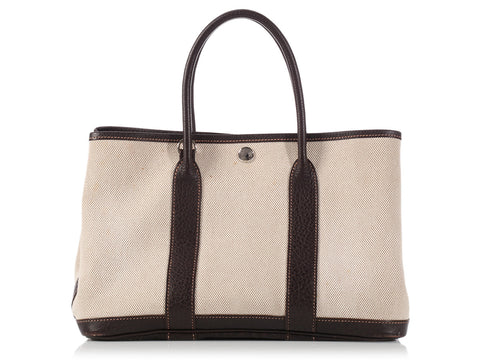Hermès Dark Brown Leather and Toile Garden Party TPM