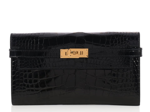 Hermès Shiny Black Alligator Long Dépliant Kelly Wallet