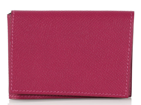Hermès Raspberry Guernesey Trifold Card Case