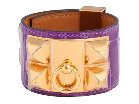 Hermès Ultraviolet Alligator Collier de Chien Bracelet CDC
