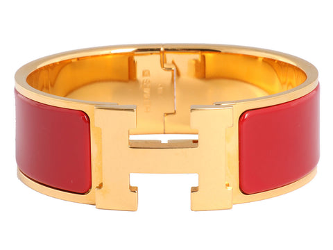 Hermès Wide Red Clic H PM Bracelet