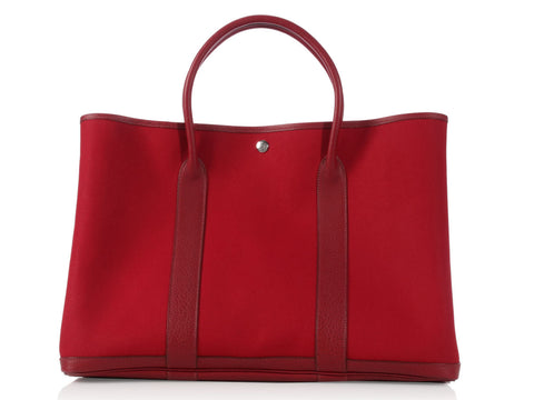 Hermès Rouge Imperial Canvas Garden Party TGM