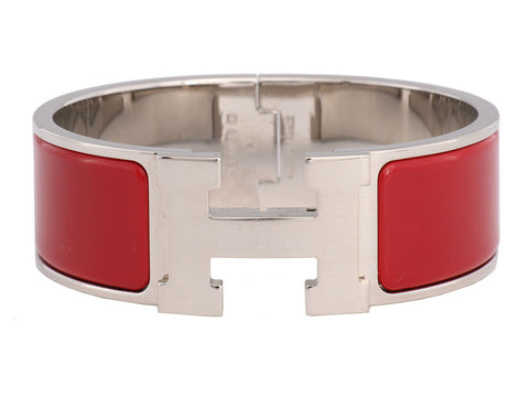 Hermès Wide Red Clic H Bracelet