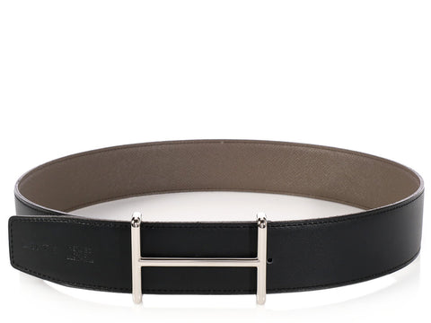 Hermès Black and Étain Belt Kit