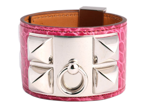 Hermès Fuchsia Alligator Collier de Chien Bracelet