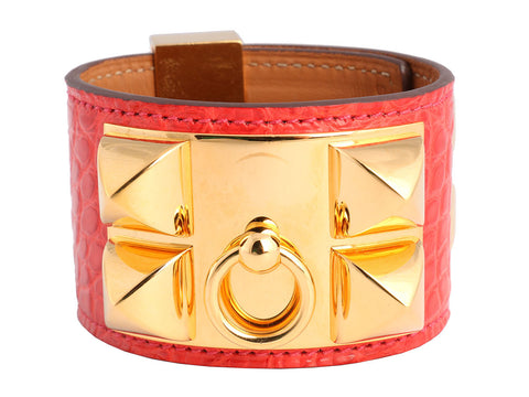 Hermès Rouge Cascade Alligator Collier de Chien Bracelet