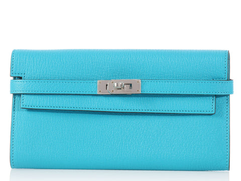 Hermès Bleu Aztèque Long Kelly Wallet