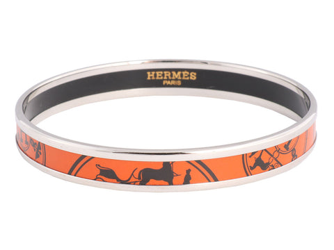 Hermès Narrow Orange Enamel Bangle