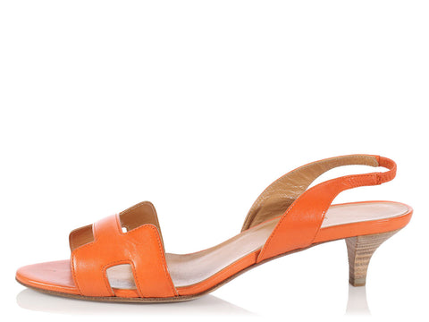 Hermès Orange Night Slingback Sandals