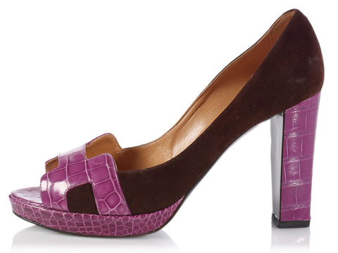 Hermès Brown Suede and Purple Crocodile Pumps