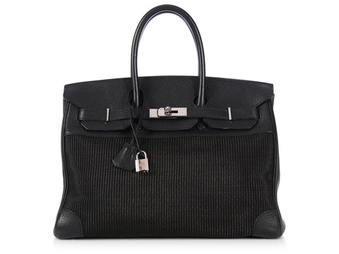 Hermès Black Crinoline and Leather Birkin 35