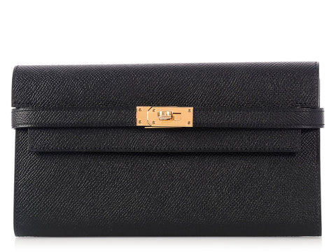 Hermès Black Kelly Long Wallet